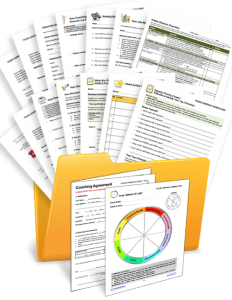 Welcome Packet with Coaching Templates, Forms and Exercises in a Folder
