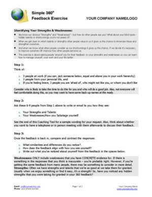 Personal SWOT Exercise Coaching Tool Page 1