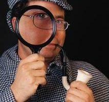 Sherlock Holmes with magnifying glass asking powerful questions