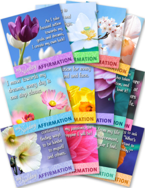 13 Graphics - Each with an Affirmation to Share Weekly on Sundays (Q1)