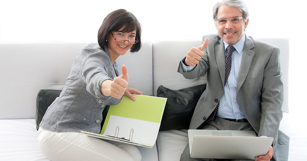 Coach and Client using Life Coaching Tools with Thumbs up