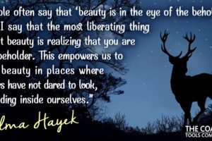 Salma Hayek on Beauty with Stag, Night Sky and Moon